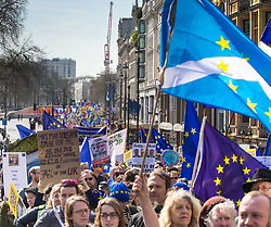 London, March 25th 2017. Tens of thousands of protesters in the Unite for Europe march against Brexit take to the streets of London just days after the Westminster terror attack in a show of defiance against extremism and Prime Minister Theresa May's 'hard Brexit'.