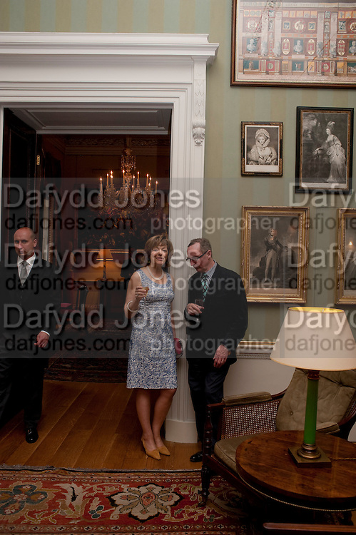 FLORA FRASER; A.N. WILSON, David Campbell and Knopf host the 20th Anniversary of the revival of Everyman's Library. Spencer House. St. James's Place. London. 7 July 2011. <br /> <br />  , -DO NOT ARCHIVE-© Copyright Photograph by Dafydd Jones. 248 Clapham Rd. London SW9 0PZ. Tel 0207 820 0771. www.dafjones.com.