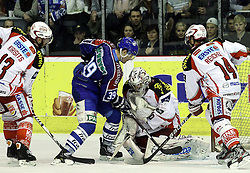 "15.03.2012, Dom Sportova, Zagreb, CRO, EBEL, KHL Medvescak Zagreb vs EC KAC, Playoff, Halbfinale, 5. Spiel, im Bild Johannes Kirisits, (EC KAC, #13), Matt Siddall, (KHL Medvescak Zagreb, #39), Andy Chiodo, (EC KAC, #31), Johannes Reichel, (EC KAC, #14) // during the semifinal Match of ""Erste Bank Icehockey League"", fith encounter between KHL Medvescak Zagreb and EC KAC at Dom Sportova, Zagreb, Croatia on 2012/03/15. EXPA Pictures © 2012, PhotoCredit: EXPA/ Pixsell/ Goran Stanzl      ATTENTION - OUT OF CRO, SRB, MAZ, BIH and POL *****"