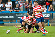 Bradford Bulls centre Vila Halafihi (26) loses the ball in the tackle during the Kingstone Press Championship match between Oldham RLFC and Bradford Bulls at Bower Fold, Oldham, United Kingdom on 13 August 2017. Photo by Simon Davies.