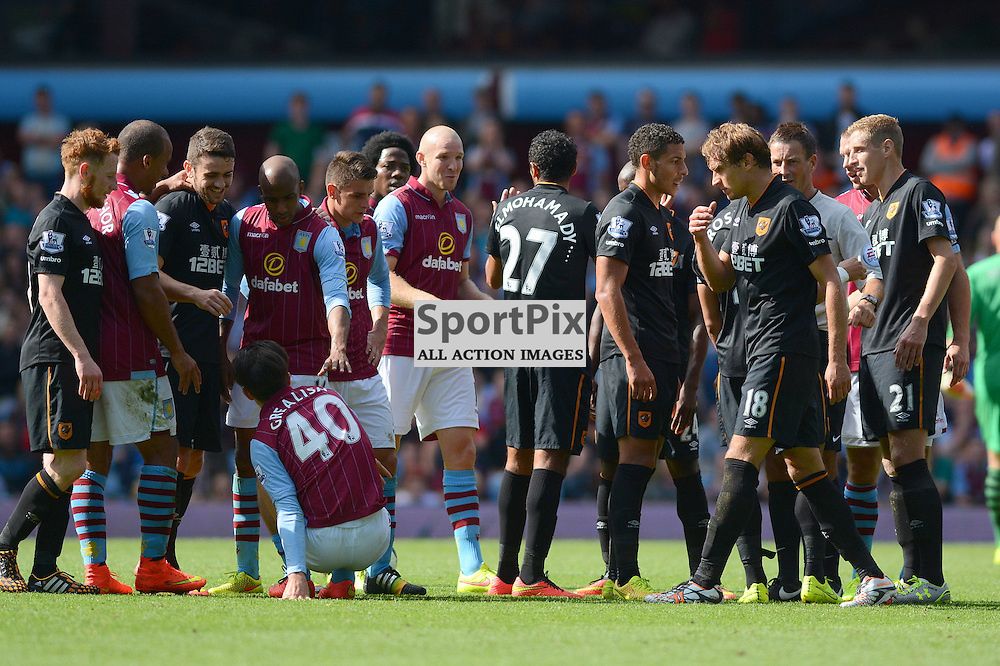 Aston Villa & Hull City players clash after a foul on Villa's Jack Grealish during the Aston Villa v Hull City Barclays Premier League match at Villa Park, Birmingham on Sunday 31st August 2014 (c) Garry Griffiths | SportPix.org.uk
