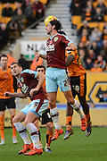 Burnley midfielder George Boyd flicks on during the Sky Bet Championship match between Wolverhampton Wanderers and Burnley at Molineux, Wolverhampton, England on 7 November 2015. Photo by Alan Franklin.