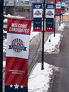 31 JANUARY 2020 - DES MOINES, IOWA: Banners in downtown Des Moines welcoming people to the Iowa Caucuses. Downtown Des Moines is preparing the caucuses, which are Monday, February 3. The city has hung banners throughout the city center and put signs in the skywalk. Some candidates are also buying advertising in the skywalk.    PHOTO BY JACK KURTZ