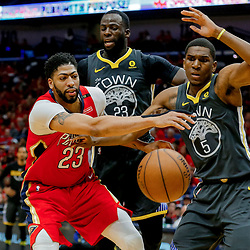 May 6, 2018; New Orleans, LA, USA; New Orleans Pelicans forward Anthony Davis (23) loses the ball as Golden State Warriors forward Kevon Looney (5) defends during the third quarter in game four of the second round of the 2018 NBA Playoffs at the Smoothie King Center. The Warriors defeated the Pelicans 118-92. Mandatory Credit: Derick E. Hingle-USA TODAY Sports