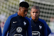 Kylian Mbappe and Presnel Kimpembe during the training of the team of France before the FIFA World Cup qualifying football match between Bulgaria and France, on October 2, 2017 in Clairfontaine, France - Photo Benjamin Cremel / ProSportsImages / DPPI