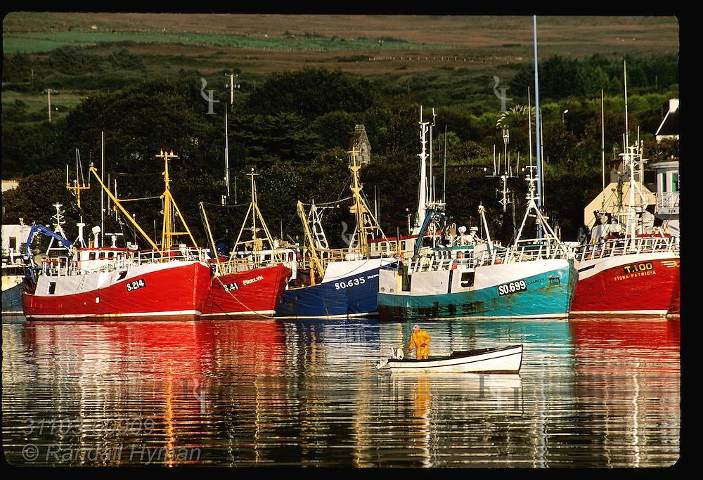 Fisherman in small skiff tends lobster pots in Castletownbere harbor framed by row of fishing boats; Beara Peninsula, Ireland.
