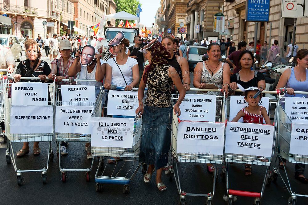 Roma 22 Giugno 2012.Manifestazione  dei sindacati di base contro le politiche economiche e sociali del Governo Monti.