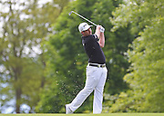 Oliver FARR with his second shot on the first hole during the 4th day of the BMW PGA Championship at Wentworth, Virginia Water, United Kingdom on 24 May 2015. Photo by Ellie  Hoad.