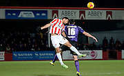 Kevin Stewart wins the ball during the Sky Bet League 2 match between Cheltenham Town and Morecambe at Whaddon Road, Cheltenham, England on 16 January 2015. Photo by Alan Franklin.