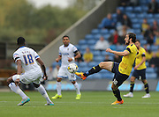 Oxford United forward Danny Hylton (10) controls a high ball during the Sky Bet League 2 match between Oxford United and AFC Wimbledon at the Kassam Stadium, Oxford, England on 10 October 2015.