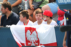 August 27, 2018 - New York, New York, United States - Polish fans look Agnieszka Radwanska (not in picture) of Poland in action during the first round of the 2018 US Open Grand Slam tennis tournament, New York, USA, August 27th 2018. (Credit Image: © Foto Olimpik/NurPhoto/ZUMA Press)