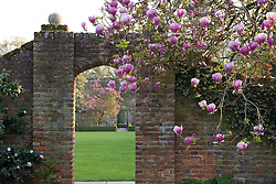 Looking through brick arches from the White Garden over the Tower Lawn towards the Rose Garden at Sissinghurst Castle. Magnolias framing the view.