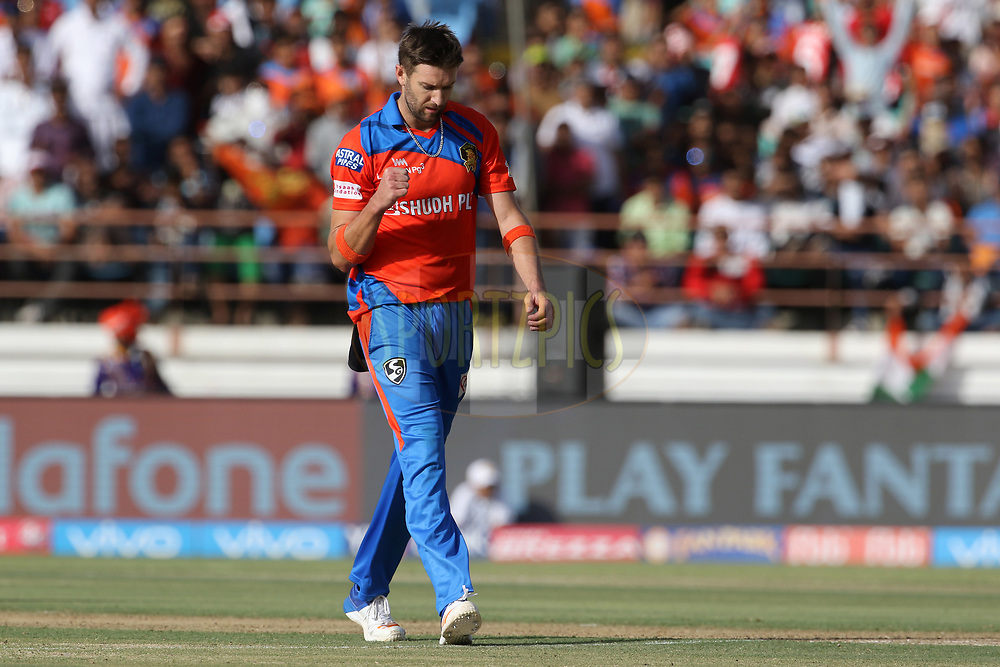 Andrew Tye of the Gujarat Lions celebrates the wicket of Marcus Stoinis of Kings XI Punjab during match 26 of the Vivo 2017 Indian Premier League between the Gujarat Lions and the Kings XI Punjab held at the Saurashtra Cricket Association Stadium in Rajkot, India on the 23rd April 2017<br /> <br /> Photo by Vipin Pawar - Sportzpics - IPL