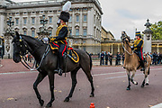 The King's Troop Royal Horse Artillery (KTRHA), the ceremonial saluting battery of Her Majesty's Household Division, fire a 41-gun Royal Salute in honour of His Royal Highness The Prince of Wales's 69th birthday. 71 horses pulling six First World War-era 13-pounder Field Guns came into action from in the park halfway down Constitution Hill.  Each of the guns fired blank artillery rounds at ten-second intervals. London 14 Nov 2017
