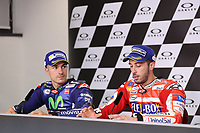 Maverick Vinales of Spain and Movistar Yamaha MotoGP second, Andrea Dovizioso of Italy and Ducati Team winner during the press conference after MotoGP Italy Grand Prix 2017 at Autodromo del Mugello, Florence, Italy on 4th June 2017. Photo by Danilo D'Auria.<br /> <br /> Danilo D'Auria/UK Sports Pics Ltd/Alterphotos
