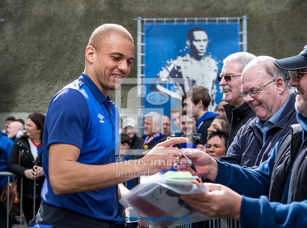 Wes Brown of Blackburn Rovers arrives and signs autographs for fans during the Sky Bet Championship match at the American Express Community Stadium, Brighton and Hove<br /> Picture by Liam McAvoy/Focus Images Ltd 07413 543156<br /> 01/04/2017
