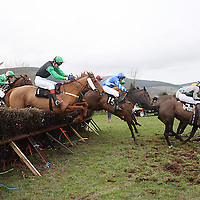 Action from the fifth race at the Killaloe Point to Point on Sunday.<br /><br /><br /><br />Photograph by Yvonne Vaughan.