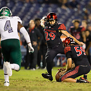 22 September 2018: San Diego State Aztecs place kicker John Baron II (29) hits a game tying 50 yard field goal with 1:16 left in the game. The San Diego State Aztecs beat the Eastern Michigan Eagles 23-20 in over time at SDCCU Stadium in San Diego, California.
