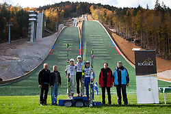 First place for Jurij Tepes, second Jaka Hvala and third place for Matjaz Pungertar during Slovenian summer national championship and opening of the reconstructed Bloudek's hill in Planica on October 14, 2012 in Planica, Ratece, Slovenia. (Photo by Matic Klansek Velej / Sportida)