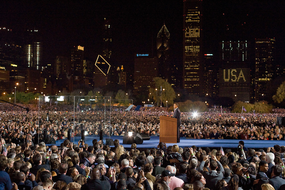 Barack Obama gives a victory speech after being elected President of the United States before an enormous crowd in Grant Park in Chicago Tuesday night.