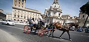 """Botticella, la classica carrozza utilizzata dai turisti per il giro panoramico del centro  di Roma...""""roman botticella"""": typical horse drawn carriage used by tourists for the panoramic tour in Rome."""