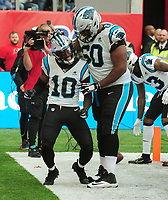 American Football - 2019 NFL Season (NFL International Series, London Games) - Tampa Bay Buccaneers vs. Carolina Panthers<br /> <br /> Curtis Samuel of the Panthers, celebrates his touch down withVita Vea at Tottenham Hotspur Stadium.<br /> <br /> COLORSPORT/ANDREW COWIE