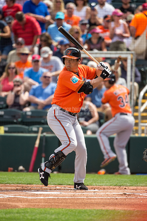 FORT MYERS, FL- MARCH 05: Hyun Soo Kim #25 of the Baltimore Orioles bats against the Minnesota Twins during a spring training game on March 5, 2016 at Hammond Stadium in Fort Myers, Florida. (Photo by Brace Hemmelgarn) *** Local Caption *** Hyun Soo Kim