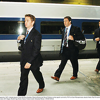 19 September 2007; Ireland players, from left, Eoin Reddan, Marcus Horan and David Wallace on the squad's arrival by TGV at Gare Montparnasse ahead of their Pool D match with France on Friday night next. 2007 Rugby World Cup, Paris, France. Picture credit: Brendan Moran / SPORTSFILE