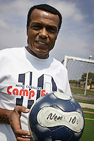 "Peuvian former soccer champion, Teofilo Cubillas, nicknamed ""El Nene Cubillas"", poses with a ball at Coral Spring City Park on Wednesday June 24, 2009.  Staff photo/Cristobal Herrera.."