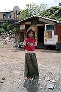 ROME APRIL 2008.Rom's camp Casilino 900.Roma Bosnian girl.