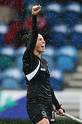 Kayla Whitelock of New Zealand celebrates her teams' goal during the bronze medal match between New Zealand and South Africa. Glasgow 2014 Commonwealth Games. Hockey, Bronze Medal Match, Black Sticks Women v South Africa, Glasgow Green Hockey Centre, Glasgow, Scotland. Saturday 2 August 2014. Photo: Anthony Au-Yeung / photosport.co.nz