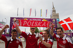 Supporters of Denmark at Fan zone in the City centre during the UEFA EURO 2012 on June 9, 2012 in Warsaw, Poland.  (Photo by Vid Ponikvar / Sportida.com)