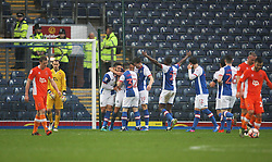 Elliott Bennett of Blackburn Rovers (C) celebrates scoring his sides second goal - Mandatory by-line: Jack Phillips/JMP - 28/01/2017 - FOOTBALL - Ewood Park - Blackburn, England - Blackburn Rovers v Blackpool - FA Cup Fourth Round