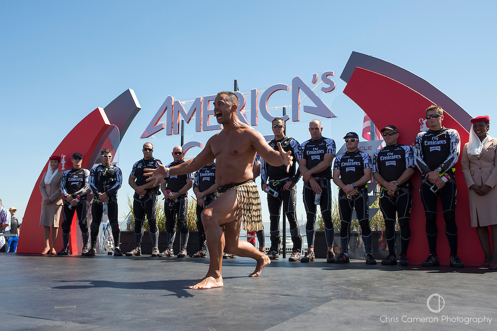 A Haka for Emirates Team New Zealand on stage for the dock out show on the first race of the America's Cup 34. 7/9/2013