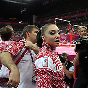 Aliya Mustafina, Russia, after winning the Gold Medal in the Gymnastics Artistic, Women's Apparatus, Uneven Bars Final at the London 2012 Olympic games. London, UK. 6th August 2012. Photo Tim Clayton