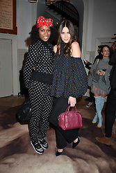 Left to right,  Aicha McKenzie and Lisa Snowdon at PPQ LFW Autumn Winter 2017 show, Crypt on the Green, Clerkenwell, London England. 17 February 2017.