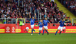 CHORZOW, Oct. 15, 2018  Cristiano Biraghi (1st L) of Italy celebrates after scoring with his teammates during the UEFA Nations League football match between Poland and Italy in Chorzow, Poland, Oct. 14, 2018. Italy won 1-0. (Credit Image: © Maciej Gillert/Xinhua via ZUMA Wire)