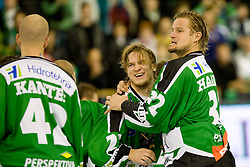 Kari Haakana (HDD Tilia Olimpija, #32) and Tomi Mustonen (HDD Tilia Olimpija, #21) celebrates victory after ice-hockey match between HD Tilia Olimpija and HK Acroni Jesenice  in 6th Round of EBEL league, on September 26, 2010 at Hala Tivoli, Ljubljana, Slovenia. (Photo By Matic Klansek Velej / Sportida.com)