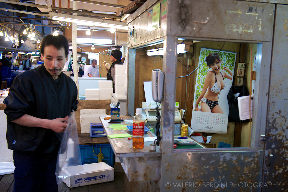 A dealer and his personalised stall in Tsukiji market. Tokyo, Japan 2013