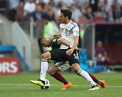 MOSCOW, June 17, 2018  Mats Hummels (front) of Germany vies with Javier Hernandez of Mexico during a group F match between Germany and Mexico at the 2018 FIFA World Cup in Moscow, Russia, June 17, 2018. (Credit Image: © Xu Zijian/Xinhua via ZUMA Wire)