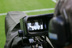PARIS, FRANCE - TUESDAY, MAY 16th, 2006: Centre of media attention... FC Barcelona's Ronaldinho captured on a television camera as he trains ahead of the UEFA Champions League Final against Arsenal at the Stade de France. (Pic by David Rawcliffe/Propaganda)