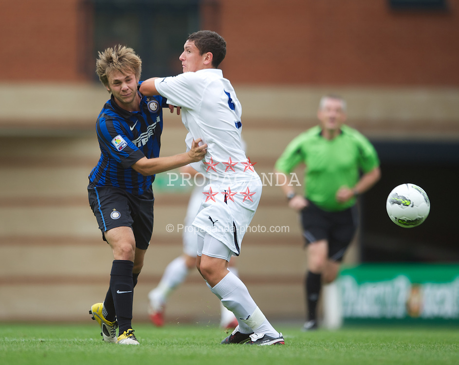 LONDON, ENGLAND - Wednesday, August 31, 2011: Inter Milan's Giovanni Terrani and Tottenham Hotspur's Milos Vejkovic in action during the NextGen Series Group 4 match at Brisbane Road. (Pic by Chris Brunskill/Propaganda)