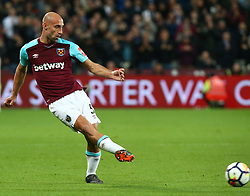 April 16, 2018 - London, England, United Kingdom - West Ham United's Pablo Zabaleta.during English Premier League match between West Ham United and Stoke City at London stadium, London, England on 16 April 2018. (Credit Image: © Kieran Galvin/NurPhoto via ZUMA Press)