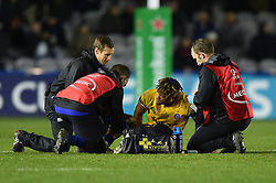 Anthony Watson of Bath Rugby is treated for an injury - Mandatory byline: Patrick Khachfe/JMP - 07966 386802 - 23/11/2019 - RUGBY UNION - The Twickenham Stoop - London, England - Harlequins v Bath Rugby - Heineken Champions Cup