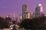 Pennsylvania. Philadelphia, City Hall Tower built 1871-1901; statue of George Washington; Benjamin Franklin Parkway at dusk