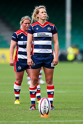 Amber Reed (capt) of Bristol Ladies kicks a Penalty - Rogan Thomson/JMP - 23/04/2017 - RUGBY UNION - Sixways Stadium - Worcester, England - Bristol Ladies Rugby v Aylesford Bulls - Women's Premiership Final.