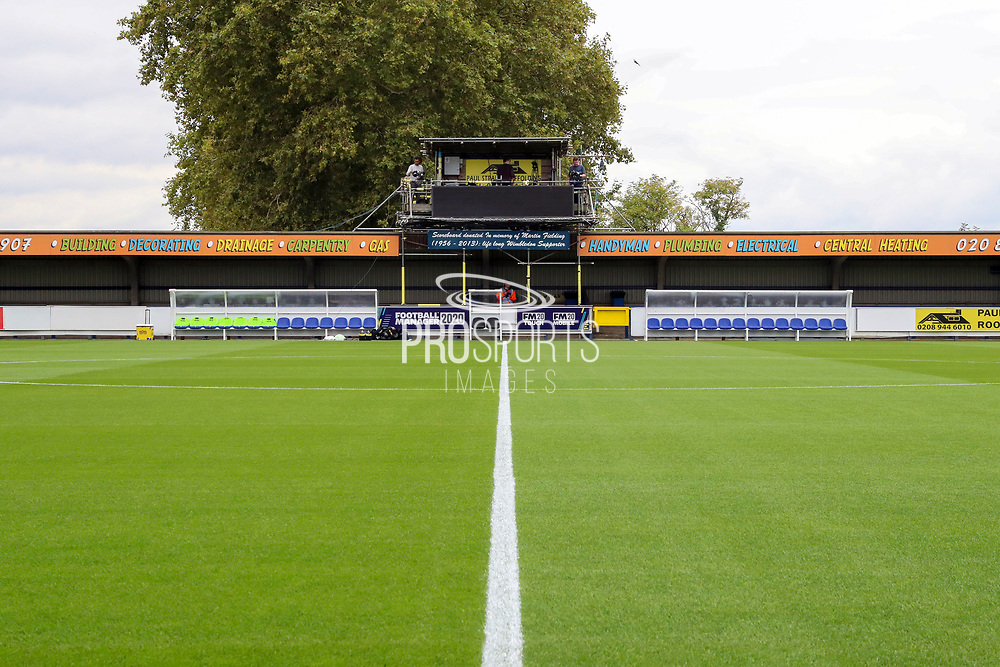 Hone and away dug out at Kingsmeadow/ Cherry Red Records Stadium during the EFL Sky Bet League 1 match between AFC Wimbledon and Rochdale at the Cherry Red Records Stadium, Kingston, England on 5 October 2019.