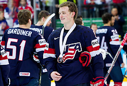 Jack Eichel of USA with bronze medal after winning during Ice Hockey match between USA and Czech Republic at Third place game of 2015 IIHF World Championship, on May 17, 2015 in O2 Arena, Prague, Czech Republic. Photo by Vid Ponikvar / Sportida