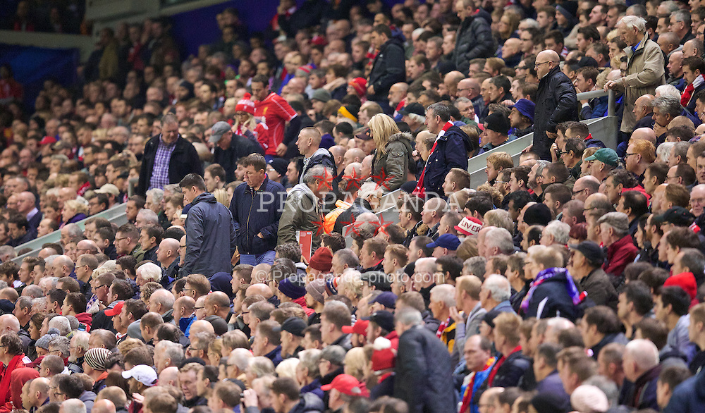 LIVERPOOL, ENGLAND - Wednesday, October 22, 2014: Liverpool supporters leave early as their side lose 3-0 to Real Madrid CF during the UEFA Champions League Group B match at Anfield. (Pic by David Rawcliffe/Propaganda)