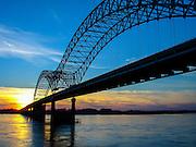 The Hernando DeSoto Bridge spanning the Mississippi River in Memphis, TN.